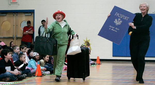 Salem: Carlton Elementary School teachers, Barbara Robinson, left and Kathe Connolly try to give their students clues as to what word they are dressed as during the school's vocabulary parade Wednesday.  Photo by Deborah Parker/Salem News Wednesday, February 11, 2009.