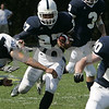 Danvers:St. John's George Sessoms runs the ball down the field during Saturday's game held at St. John's. <br /> Photo by Deborah Parker/Salem News Saturday, September 13, 2008