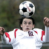 Salem: Salem's Brion Likaj heads the ball in yesterday's MIAA tournament action against St. John's Prep at Bertram Field. St. John's won the game 3-1. Photo by Deborah Parker/Salem News Friday, November 07, 2008