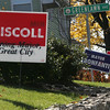 A lawn in Salem shows support for not only Salem Mayor Kim Driscoll but also Peabody Mayor Michael Bonfanti. Photo by Deborah Parker/November 3, 2009