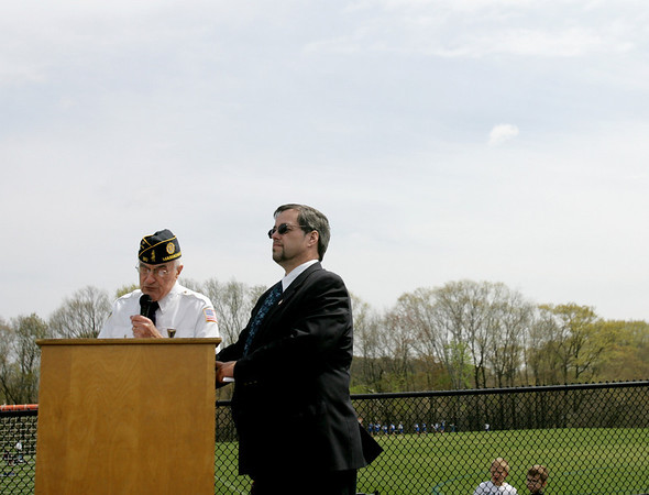 Bruce Eaton, representing the veterans of Danvers along with Gardner Trask, chairman of the Board of Selectman, dedicated Veterans Memorial Feilds at Thorpe School during a short ceremony Sunday afternoon. Photo by Deborah Parker/April 25, 2010