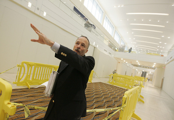 Peabody:Area general manager of the North Shore and Liberty Tree Malls, Mark Whiting stands in the lower level of the new wing of the North Shore Mall while giving a tour of the new construction. The wing is scheduled to open to the public on November 3rd of this year. <br /> Photo by Deborah Parker/Salem News Tuesday, October 28, 2008