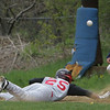 Salem's Rafphi Medrano tags the base before the ball reaches Peabody first baseman Ryn Noftle during Monday afternoon's game held at Veterans Memorail High School. Photo by Deborah Parker/April 26, 2010