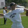 Beverly West Little League Jordan Rawding throws to a teammate during practice at Vittori Field in Beverly Frida afternoon. Photo by Deborah Parker/June 18, 2010