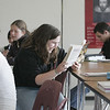 Kristina Adam reads Euripides' Medea on the first day of school in the new Beverly High School building. photo by deborah parker/november 30, 2010