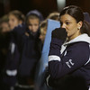 Junior Varsity coach Jeanna Alunni watches at the Peabody girls soccer team loses to Acton-Boxboro in Division 1 North soccer final held at Fraser Field in Lynn Monday evening. Photo by Deborah Parker/November 16, 2009