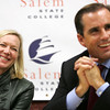 Bob Woodruff along with his wife Lee, spoke last night at Salem State as part of the Salem State 2009 Series. The television journalist and ABC news anchor was critically wounded by a roadside bomg in Iraq while he was reporting on the aftermath of the 2006 Palestinian elections. Photo by Deborah Parker/September 22, 2009