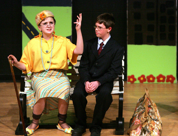 Jessica Reardon who plays Mrs. Peterson and Derek Dupuis, who plays her son, Albert, perform a scene from Bye Bye Bye Birdie during dress rehearsal at Collins Middle School yesterday afternoon. The school will be putting on the play school is presenting on March 3, 4, and 5 at 7 p.m. in the Collins Auditorium. Photo by Deborah Parker/February 25, 2010
