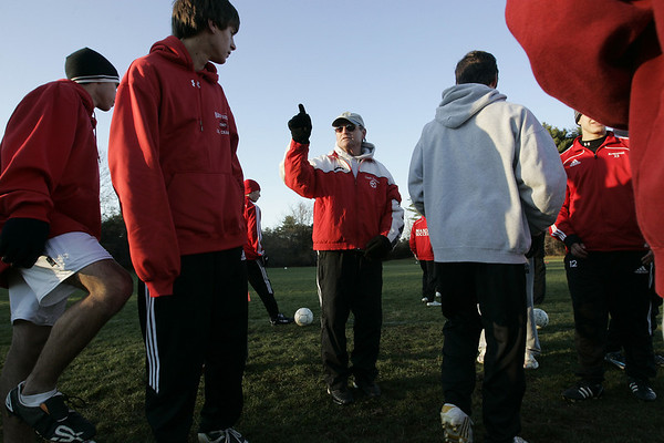 Boxford: Masconomet Boy's soccer coach, Lenny Emmons explains a drill during Masco's last practice of the season. The team was preparing for Saturday's Division 3 State Title game. Photo by Deborah Parker/Salem News Friday, November 21, 2008