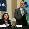 Salem Mayor Kim Driscoll listens at Danvers Town Manager Wayne Marquis speaks about the challenages and opportunites in Danvers during the North Shore Chamber of Commerce Business Expo held at the Crowne Plaza Boston North Shore. Photo by Deborah Parker/February ,23, 2010