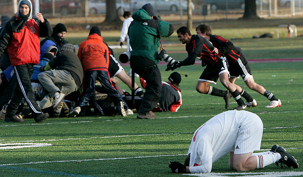 Lowell: Masco's Jon Doucette?? or Fouad Shahin??? reaccats after the team's loss to Mt. Greylock during Saturday's Division 2 State Championship soccer game in Lowell. Masco was defeated 3-2. Photo by Deborah Parker/Salem News Saturday, November 22, 2008.