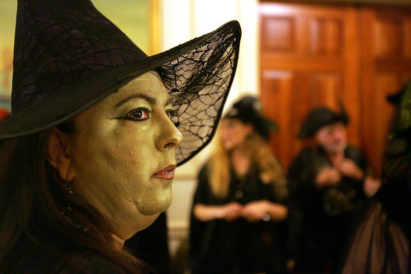 Deb Jansen of Wisconsin waits in line to enter the Witches's Ball at the Hawthorne Hotel Friday evening.  Photo by Deborah Parker/October 30, 2009