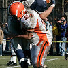 Hamilton: Ipswich's Jim Cadogan takes down Hamilton-Wenham's Corey Daff during Thursday's Thanksgiving Day football game at Hamilton. Photo by Deborah Parker/Salem News Thursday, November 27, 2008.
