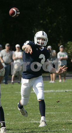 Danvers:St. John's Greg Donahue throws out a pass during Saturday's game held at St. John's. <br /> Photo by Deborah Parker/Salem News Saturday, September 13, 2008