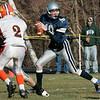 Hamilton: Hamilton-Wenham's Andy Duval looks to pass the ball during Thursday's Thanksgiving Day football game at Hamilton. Photo by Deborah Parker/Salem News Thursday, November 27, 2008.