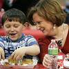 Robyn DeNorscia of Malboro laughs with her nephew Ben Applebaum, 7, during a special Valentine's day brunch held at the McCarthy Elementary School Friday morning. Photo by Deborah Parker/February 12, 2010