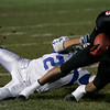 Marblehead: Marblehead's Taariq Allen is brought down by Danvers' T.J. Stanley during last night's game at Marblehead. Photo by Deborah Parker/Salem News Thursday, October 24, 2008.