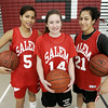 Salem: From left, Salem High School senior basketball players, Erica Mendez, Ashley White, Louginna Rijo. <br /> Photo by Deborah Parker/Salem News Thursday, January 01, 2009