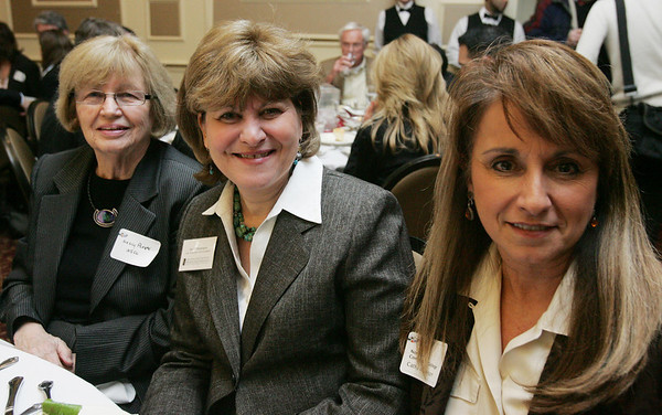 From left, Nancy Plante, Elaine Champagne, and Cathy Anderson, all of North Shore Community College, attend the North Shore Chamber of Commerce Business Expo held at the Crowne Plaza Boston North Shore. Photo by Deborah Parker/February ,23, 2010