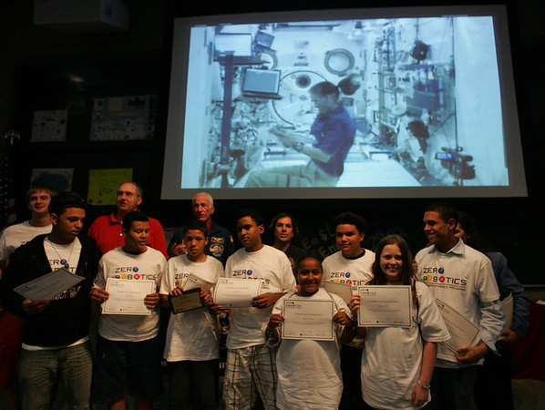 10 Salem students participated this summer in a program at Salem CyberSpace in which they programmed a space robot which is used at the International Space Station. On Thursday they were invited to MIT along with other students groups from around the state to compete and watch the robots perform live in space. Photo by Deborah Parker/August 19, 2010