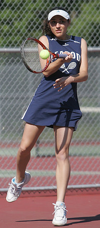Peabody's Emily Athas competes in second singles in yesterday's tennis match against Swampscott held in Peabody. Photo by Deborah Parker/May 21, 2010