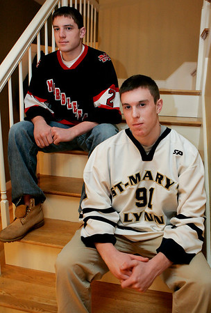 Marblehead: Twin brothers, Colby and Andrew Bates, 17, are both hockey players. Andrew decided to swtich to a different school to better prepare himself for hockey at the college level. Colby currently plays hockey for Marblehead High School while Andrew plays for St. Mary's in Lynn. Photo by Deborah Parker/Salem News, Thursday, January 22, 2009.