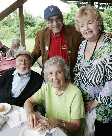 Don Michaud and Mar Michaud, sitting, along with Pep Cornacchio and Virginia Michaud, all of Salem, pose together while attending the Seniors Picnic held at Winter Island Sunday afternoon. Photo by Deborah Parker/August 9, 2009
