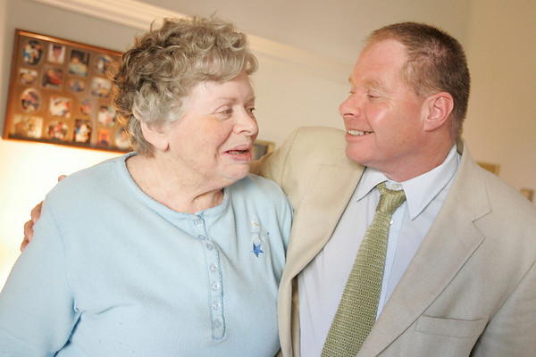 Danvers: Stephen Ruoff and his mother, Louella Cummings in her residence at Heritage at Danvers assisted living facility. Photo by Deborah Parker/ Salem News Tuesday, October 28, 2008.