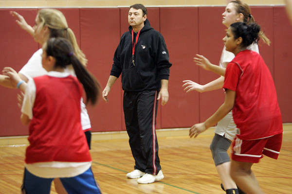 Skip Likins, in his first year as head coach, has guided the Marblehead girls basketball team to three wins so far this seasons after back-to-back winless years for hte Magicians. Photo by Deborah Parker/January 21, 2009