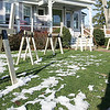 Wooden saw horses line the front lawn of the     Siemasko and verbridge architect firm. Photo by Deborah Parker/December 8, 2009