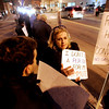 Beverly: Abby Bertelson of Hamilton speaks with Lou Russo of Lynnfield, left during the Beverly Republican City Committee protest rally outside of Beverly City Hall Thursday evening. The Committee was protesting state Rep. Mary Grant's co-sponsorship of legislation to increase the gas tax by 29 cents per gallon. Photo by Deborah Parker/Salem News Thursday, February 19, 2009.