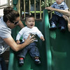 Isabelle Benziane of Salem and her son Mehdi, 1, enjoy some time on the slide together while at the Salem Common Wednesday morning. Next to Mehdi is Alexander Zimmerman, 1, and his mom, Larissa, also of Salem. Photo by Deborah Parker/September 29, 2010