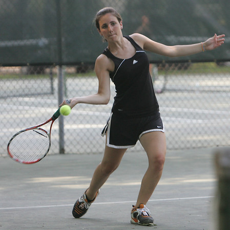 Ipswich's Katelyn Kelley competes in yesterday's doubles match against Hamilton Wenham. Photo by Deborah Parker/May 26, 2010