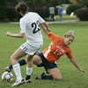 Wenham: Salem State's Nicole Theberge fight for control of the ball against Gordon College's Carissa Favaloro during their game Thursday afternoon.<br /> Photo by Deborah Parker/Salem News Thursday, September 25, 2008