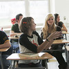 Olivia Burnham participates in a discussion during her English class on the first day of school in the new Beverly High School building. photo by deborah parker/november 30, 2010