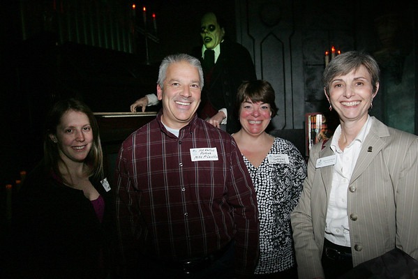 From left, Adria Leach with Salem State College, Mike McLauglin of Mr. Rooter Plumbing, Norene Gachignard of Salem Theatre Company and Beth Anne Bower of Salem State College, attend the Chamber After Hours event at Count Orlok's Nightmare Gallery on Thursday evening. Photo by Deborah parker/april 22, 2010