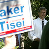 Charlie Baker spoke at Leather City Park in Peabody Wednesday morning during a press conference on education. Photo by Deborah Parker/SEptmeber 29, 2010