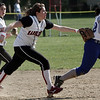 Marblehead: Third baseman makes the tag for the out during yesterday's game against Danvers. Photo by Deborah Parker/May 13, 2009