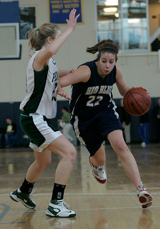 Boston: Swampscott's Allie Beaulieu is defended by Pentucket's Holly Jakobsons during the Division 3 Final game Saturday at Emmanuel College. Photo by Deborah Parker/Salem News Saturday March 7, 2009.