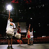 From left, Leo Santoro, 11, of Salem, Shane Braz, 10, of Peabody, Hannah Piispanen, 11, of Winchester and Harrison Gray, 11, of Peabody rehearse a scene during children's rehearsal for the new Gypsy production at the North Shore Music Theatre, yesterday, in preperation for the show's opening next week. The Theatre is reopening after being closed for more than a year. Photo by Deborah Parker/July 1, 2010