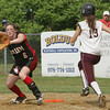Salem's Sarah Mullarkey makes the out at first against Chelmsford's  Meghan McNamara during yesterday's Division 1 North first round state trounament softball game held at Mack Park in Salem. Photo by Deborah Parker/June 3, 2010