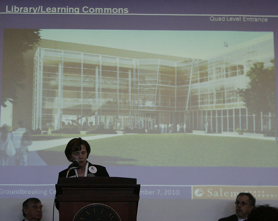 State State University President Patricia Maguire Meservey speaks during a presentation about the new library and learning commons project which broke ground Tuesday afternoon. Photo by deborah parker/december 7, 2010