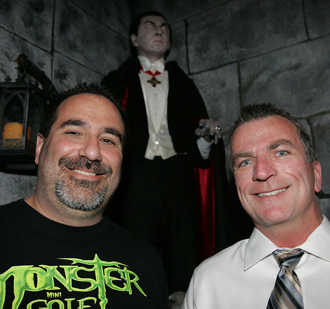 Peter Cali of Monster Mini Golf and Bob Shea of the Morning Glory Bed and Breakfast in Salem attend the Chamber After Hours event at Count Orlok's Nightmare Gallery on Thursday evening. Photo by Deborah parker/april 22, 2010