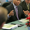Governor Deval Patrick held a cabinet meeting at Essex Agricultural and Technical High School this morning to discuss the future merger with North Shore Technical High School and the formation of a new regional vocational and agricultural high school.Photo by Deborah Parker/December 11, 2009