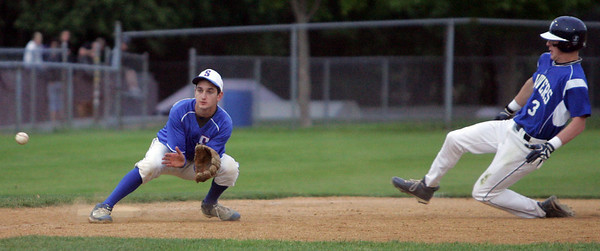 Swampscott High baseball player Justin Massey was believed  he would miss his entire senior baseball season after being struck in the face with a hockey puck late in the hockey season, but he has come back to play much earlier than expected for the Big Blue. Here he defends third base against Danvers' Logan Carabello during Monday night's game at Twi-Field. Photo by Deborah parker/may 17, 2010