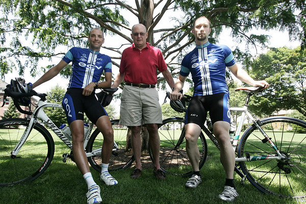 Chris McKernan, left, Don MacQuarrie, center and Ron Smithers, are three of the organizers of the Gran Prix of Beverly, a bike race for professional and amateur riders to be held Aug. 13 in downtown Beverly. Photo by Deborah Parker/July 25, 2009