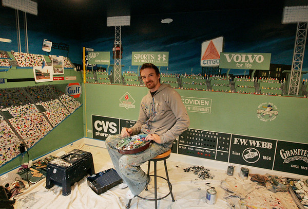 Marblehead: Hans de Castellane, a Cape based artist, is creating a mural of Fenway Park for the Aikman family inside their Marblehead Home. Photo by Deborah Parker/Salem News Monday, April 6, 2009.