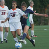 Endicott's Chelsea Garlock and Salem State's KatyLyn Verrette fight for control of the ball during yesterday's game held at Alumni Field at Salem State University in Salem. Photo by Deborah Parker/September 1, 2010