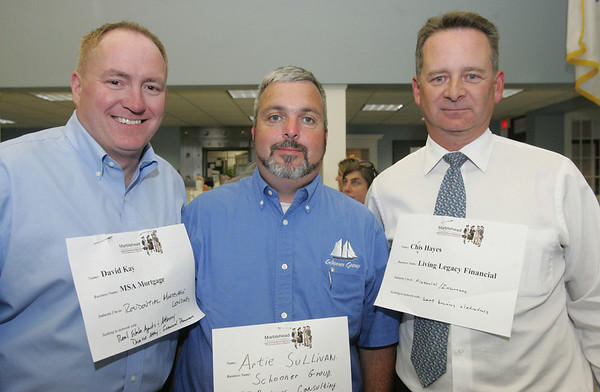 David Kay of MSA Mortgage, Artie Sullivan of Schooner Group and Chris Hayes of Living Legacy Financial, attend the launch of the Chamber Professionals Group, part of the Marblehead Chamber of Commerce, held at Marblehead Bank Monday evening. Photo by Deborah Parker/September 20, 2010
