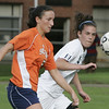 Wenham: Salem State's Kasey Hanson and Gordon College's Amanda Whittel fight for control of the ball during their game Thursday afternoon.<br /> Photo by Deborah Parker/Salem News Thursday, September 25, 2008